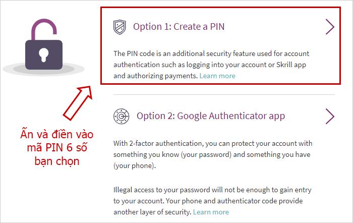 Tạo mã PIN hoặc bảo mật 2 lớp cho ví Skrill