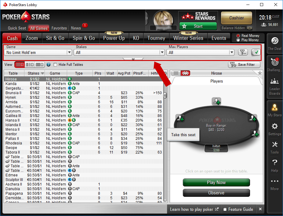 tìm game - PokerStars