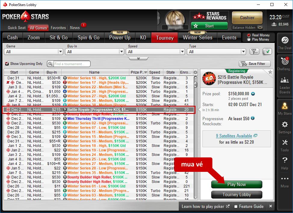 giải đấu nhiều bàn - PokerStars