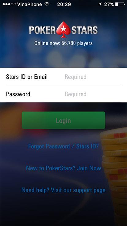 đăng nhập ứng dụng PokerStars trên di động
