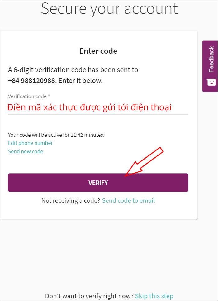 Điền mã xác nhận SMS