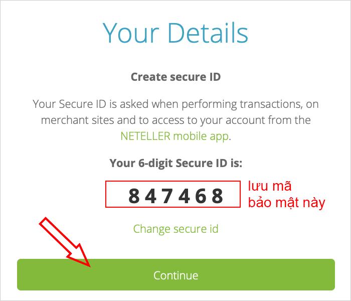 Mã bảo mật secure id của ví Neteller
