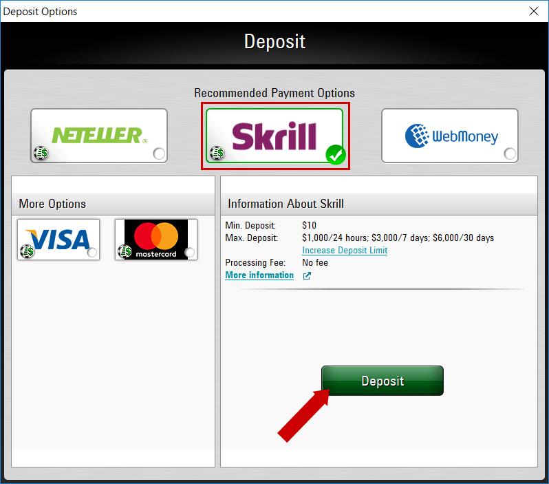 chọn phương thức nạp tiền PokerStars
