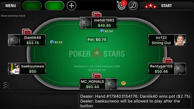 Đánh bài online trên App PokerStars di động
