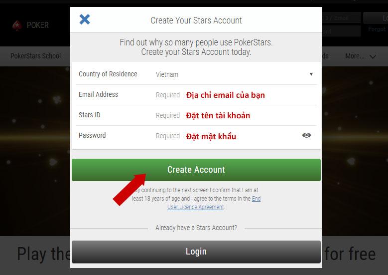 Nhập thông tin đăng ký tài khoản PokerStars