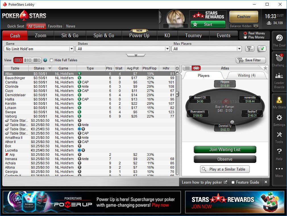 Giao diện PokerStars trên máy tính
