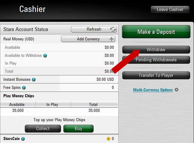 rút tiền từ tài khoản PokerStars