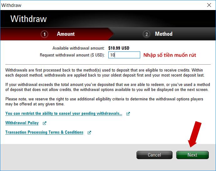 nhập số tiền muốn rút - PokerStars