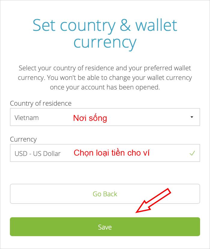 Chọn loại tiền khi tạo ví Neteller