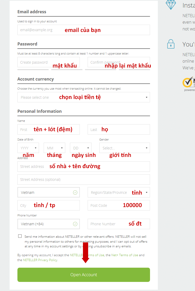 Nhập thông tin đăng ký tài khoản Neteller