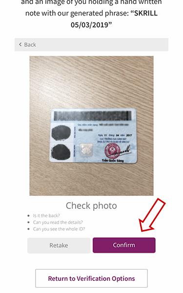 Gửi ID xác thực Skrill