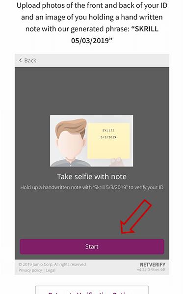 gửi hình selfie xác thực ví Skrill