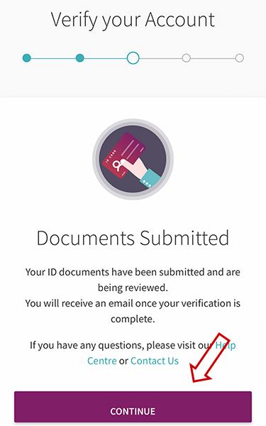 Gửi giấy tờ verify Skrill thành công