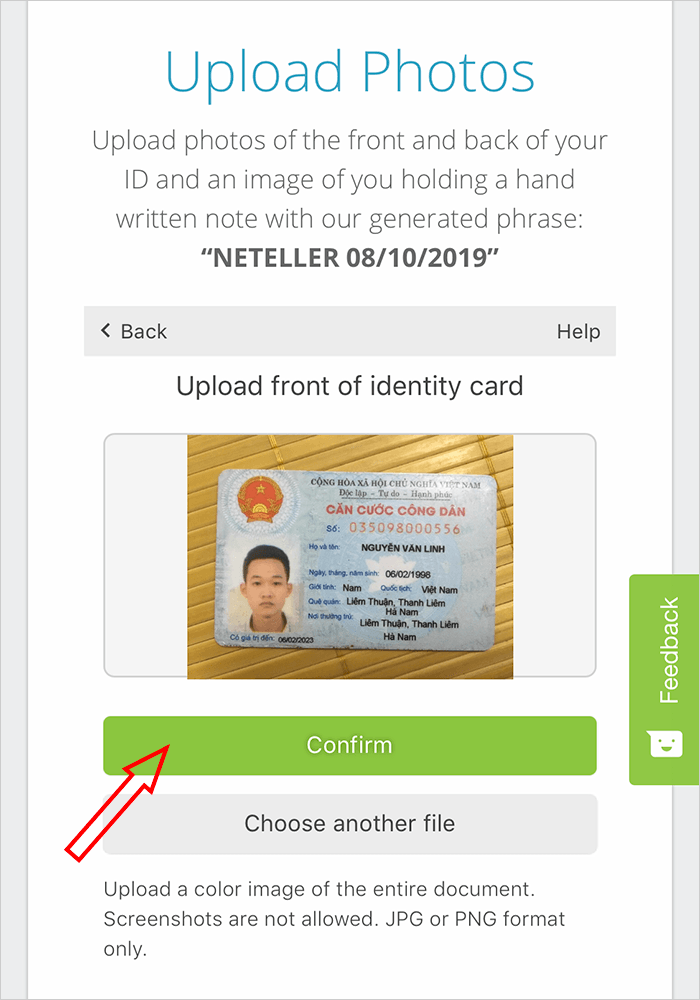 Gửi ID để verify Neteller