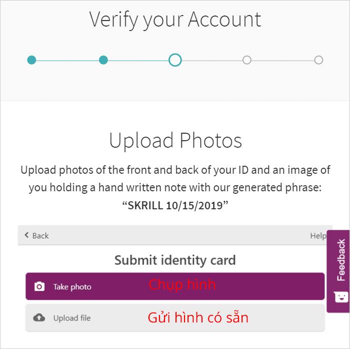 Chọn chụp hoặc upload giấy tờ cho Skrill