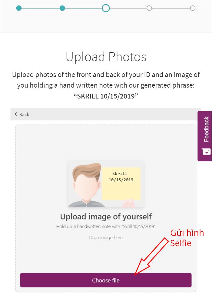 Gửi hình selfie xác minh Skrill