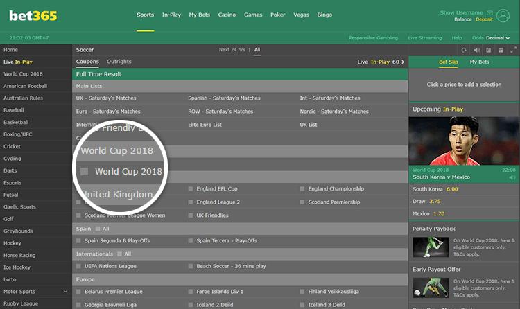 Chọn giải bóng đá để cá độ tại bet365