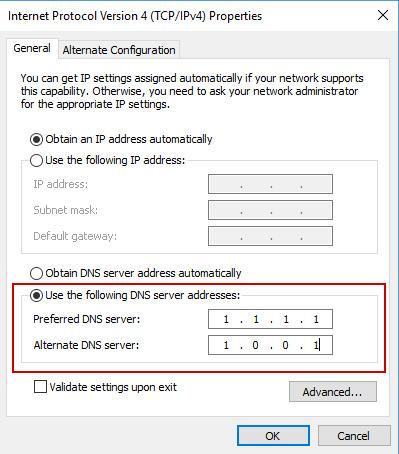Đổi DNS trên windows 10 để vào web bị chặn