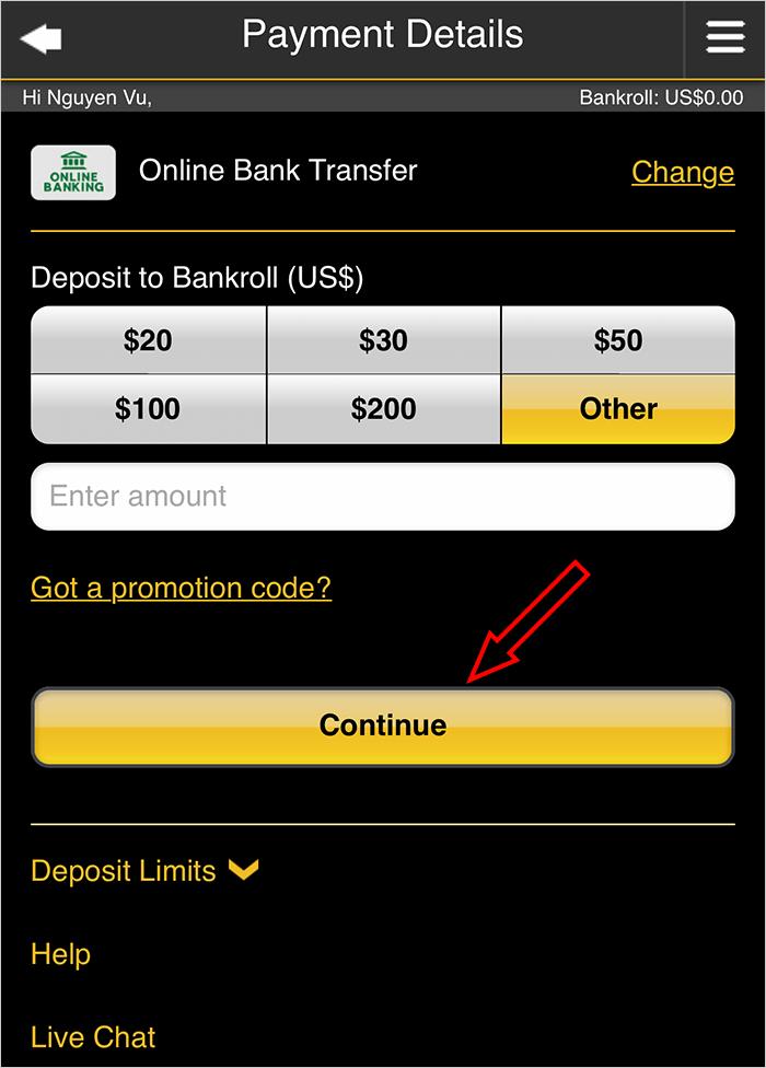 Chọn số tiền cần nạp vào tài khoản