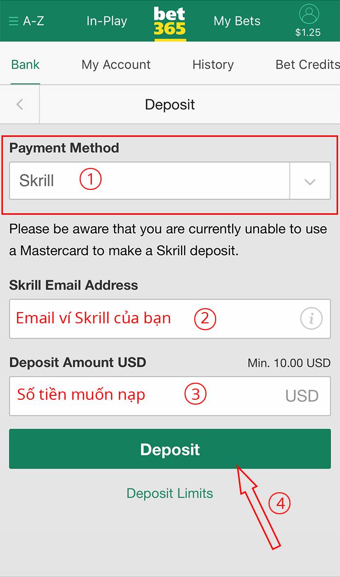 chọn cách nạp tiền vào bet365 bằng Skrill
