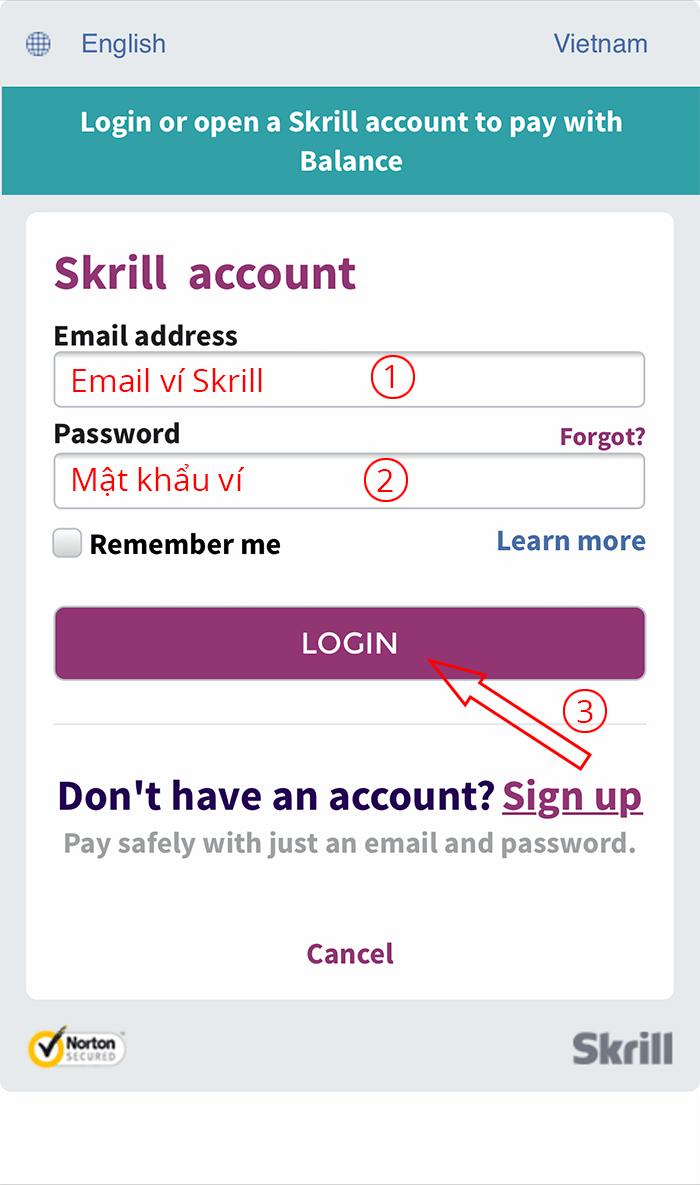 gửi tiền vào tài khoản cá độ bằng Skrill