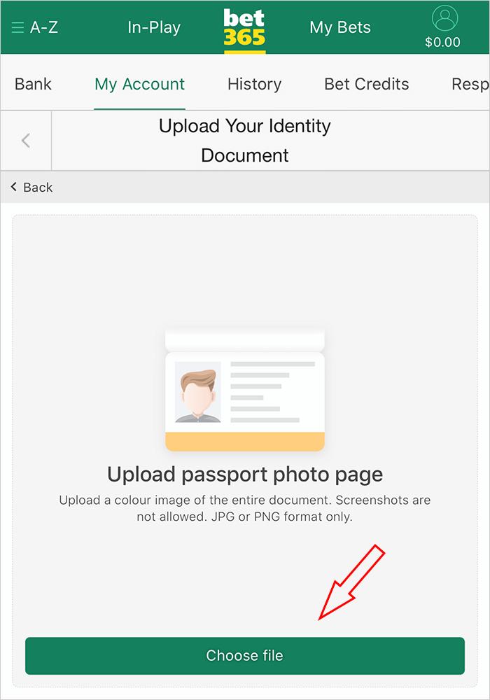 Gửi ID để xác thực danh tính với bet365