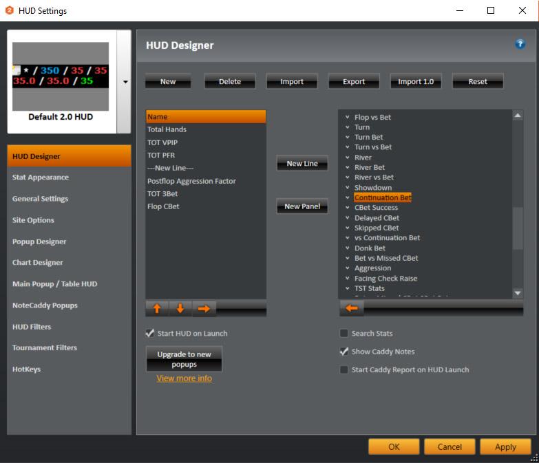 cách thiết lập bộ chỉ số HUD để chơi poker online