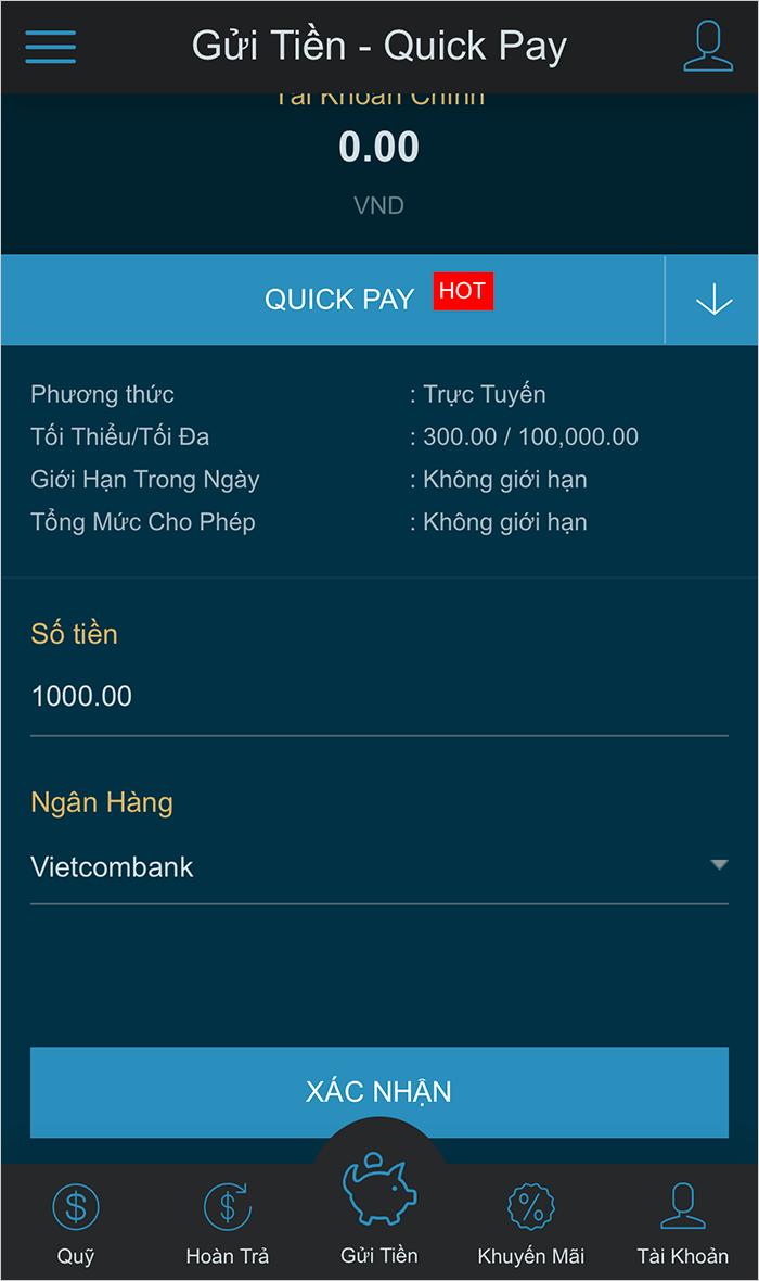 Gửi tiền vào W88 bằng internet banking