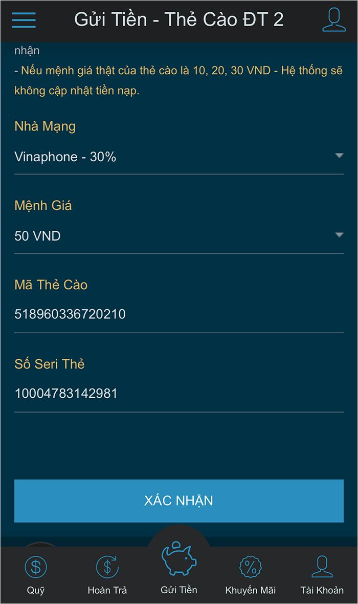 Gửi tiền vào W88 bằng thẻ cào điện thoại