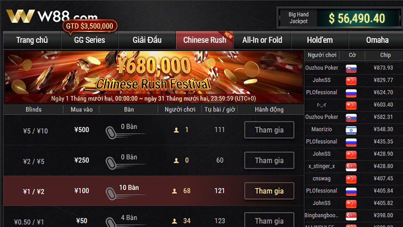 Game Chinese Rush tại W88 Poker