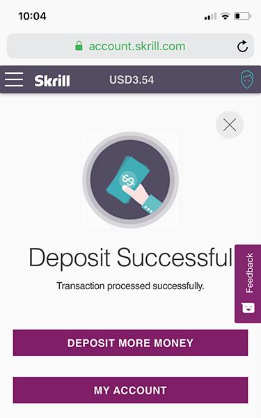 Nạp tiền vào Skrill thành công