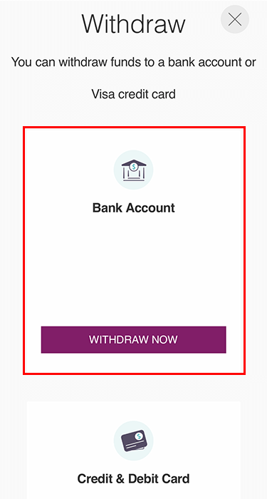 Tùy chọn rút tiền từ Skrill về tài khoản ngân hàng