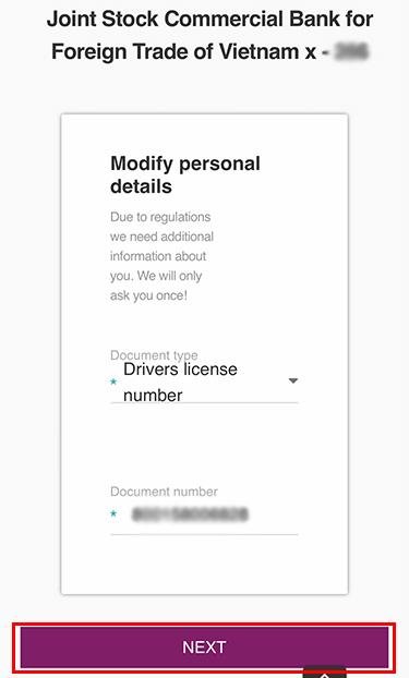 Điền số thẻ căn cước/CMND khi thêm tài khoản ngân hàng vào Skrill