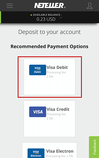 Chọn cách nạp tiền vào ví Neteller bằng thẻ Visa