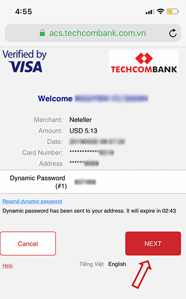 Nhập mã OTP Verified by Visa