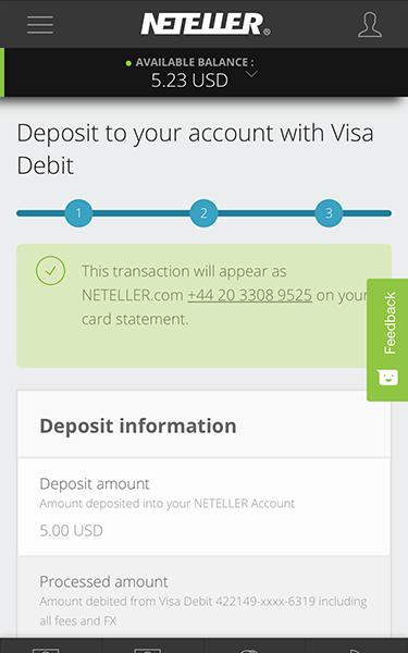 thông báo nạp tiền vào ví Neteller thành công