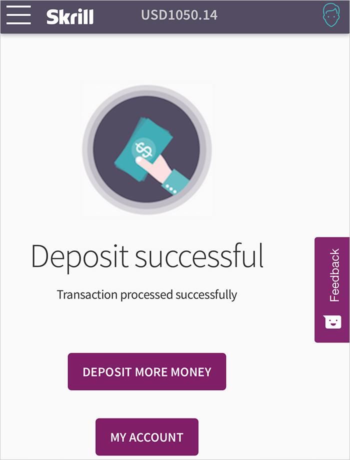 Thông báo chuyển tiền vào Skrill thành công