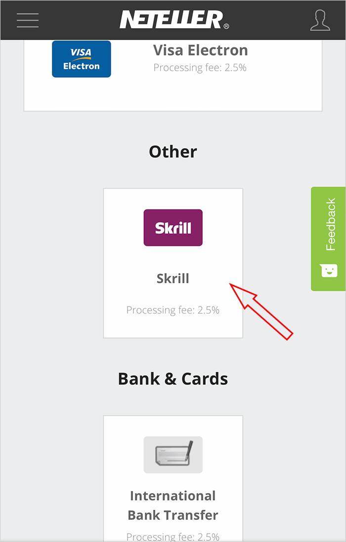 Chọn nạp tiền vào Neteller bằng Skrill