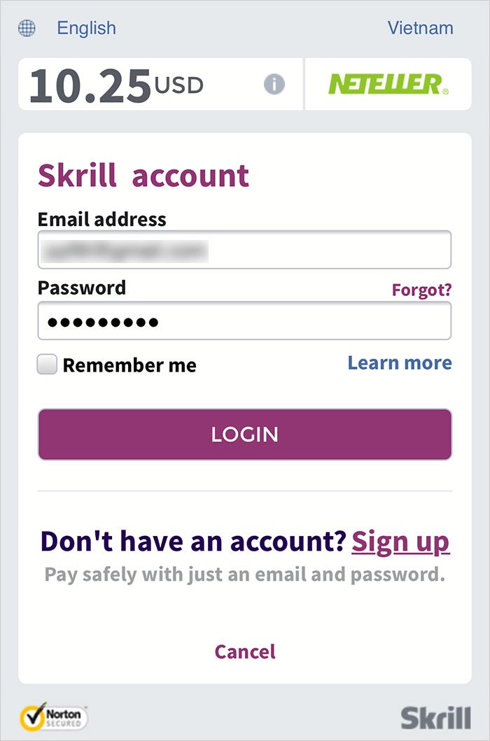 Đăng nhập Skrill để hoàn thành giao dịch